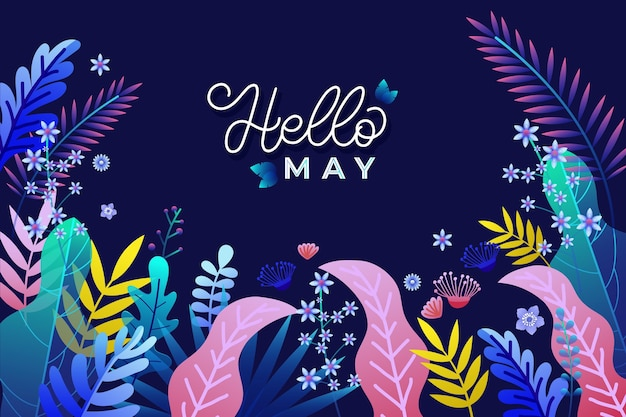 Hello may background with flowers and leaves