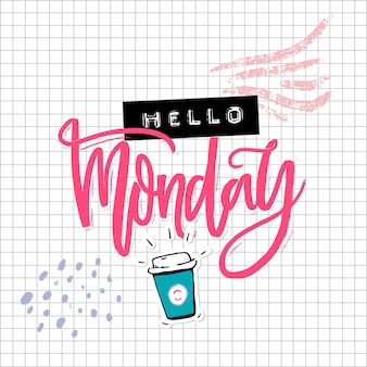 안녕하세요 월요일 카드에는 서예 문구, 손으로 그린 커피, 양각 라벨 콜라주가 정사각형 종이에 있습니다. 소셜 미디어에 대한 재미있는 비문.