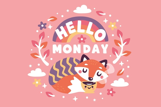 Hello monday colorful background