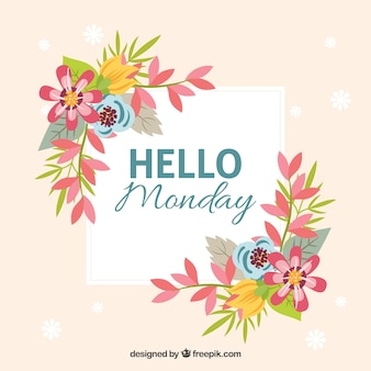 Hello monday floral background