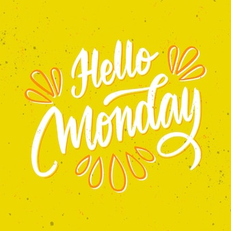 Hello monday lettering on yellow background