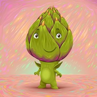 Hello my name is artichoke vector cartoon illustration
