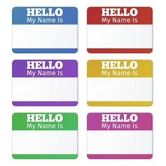 こんにちは私の名前は...紹介カード、ラベルセット。パーティー大会用タグステッカー