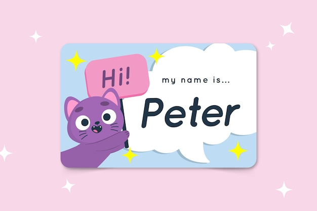 Hello my name is label template with cat