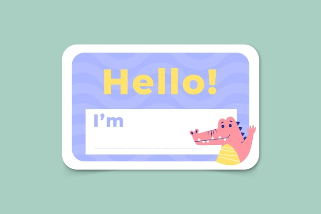 Hello my name is label template with dinosaur