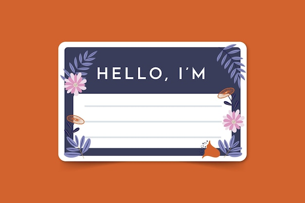 Hello my name is label template with flowers