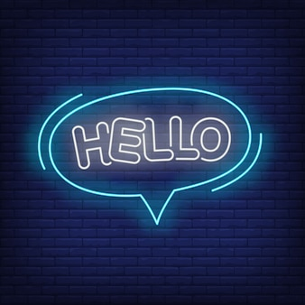 Hello neon lettering in speech bubble.