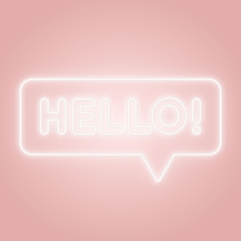 Hello neon sign. glowing speech bubble with text hello.