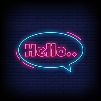 Hello neon signs style text