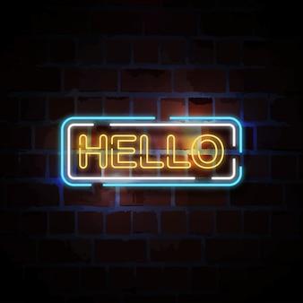 Hello neon style sign illustration