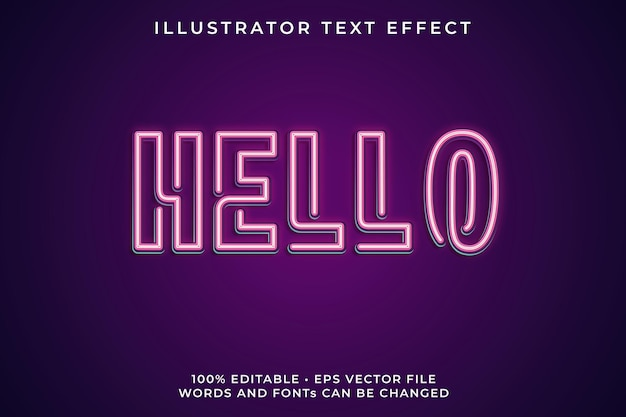 Hello neon text effect