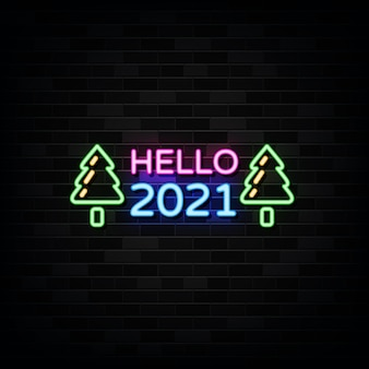 Hello new year neon signs . design template neon sign