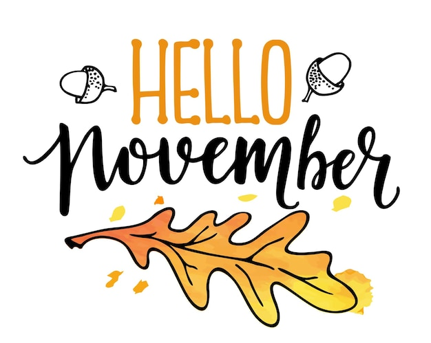 Hello november text with leaves wreath isolated good for greeting card poster banner textile print