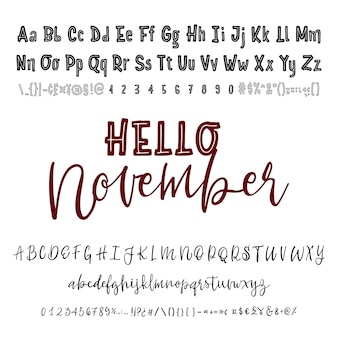 안녕하세요 11 월 단어 손으로 그린 서체 세트 흰색 절연