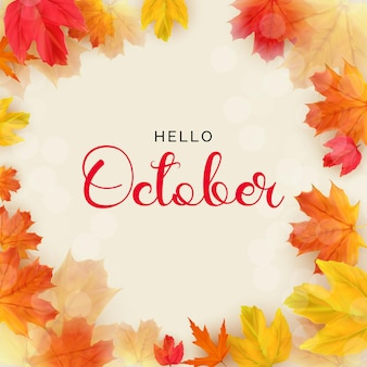 Hello october background with falling leaves vector illustration