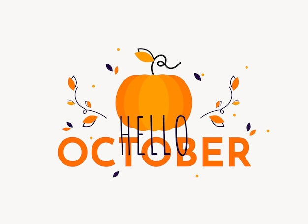 Hello october banner with pumpkin and leaves