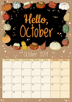 Hello october cute cozy hygge 2019 month calendar planner with pumpkins decor
