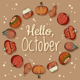 Hello october decorative wreath cute cozy banner with pumpkins