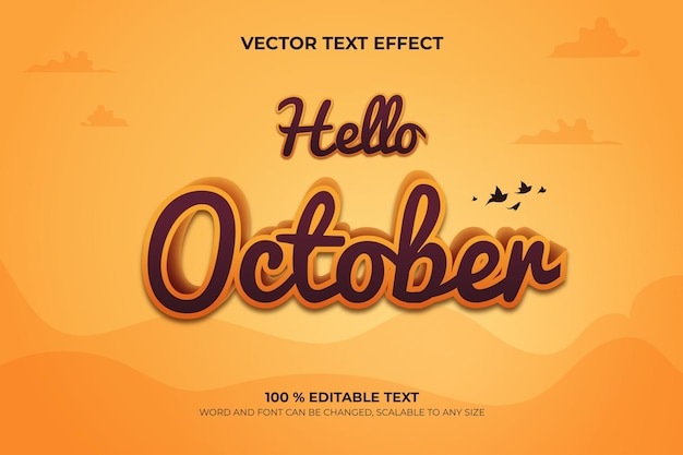 Hello october editable 3d text effect with landscape backround style