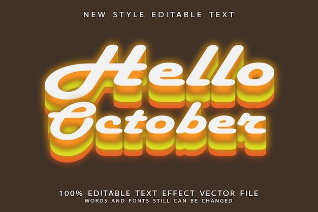 Hello october editable text effect emboss modern style