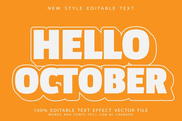 안녕하세요 10월 편집 가능한 텍스트 효과 양각 현대적인 스타일