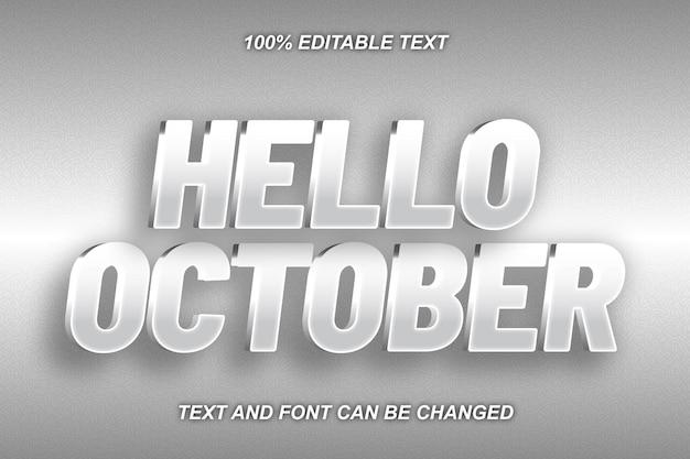 Hello october editable text effect modern style