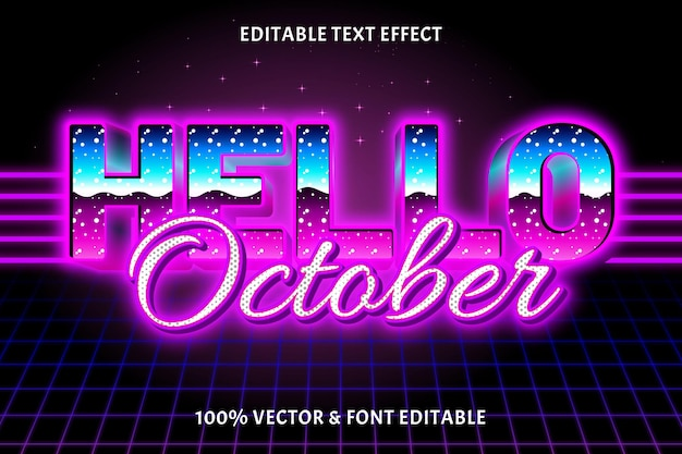 Привет октябрь редактируемый текстовый эффект в стиле ретро