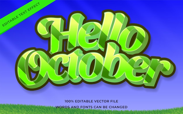 Hello october text effect editable for illustrator
