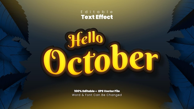 Hello october text effect