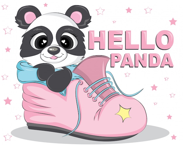 Hello panda bear on the pink shoes