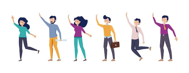 Hello people. man woman greetings characters, happy flat diverse persons vector set. illustration friendship waving and greeting