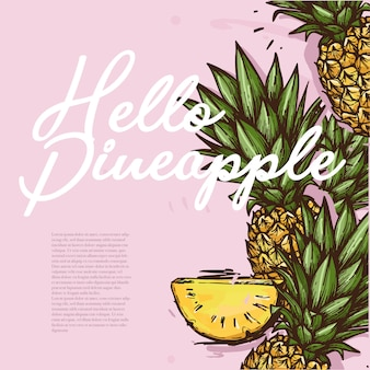 Hello pineapple illustration summer theme
