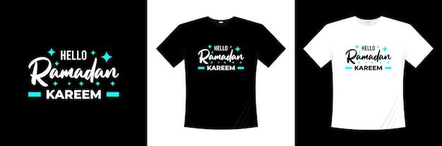 Привет рамадан карим типография дизайн футболки