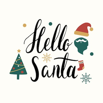 Hello santa christmas greeting badge vector