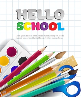 Hello school lettering and supplies on squared paper