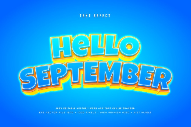 Hello september 3d text effect on blue background