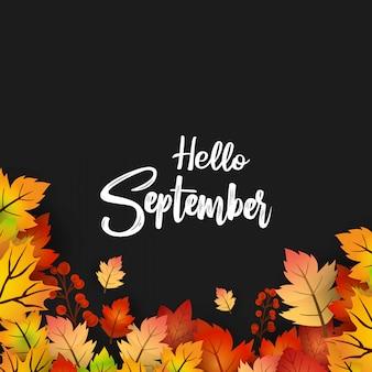 Hello september autumn season deisgn vector