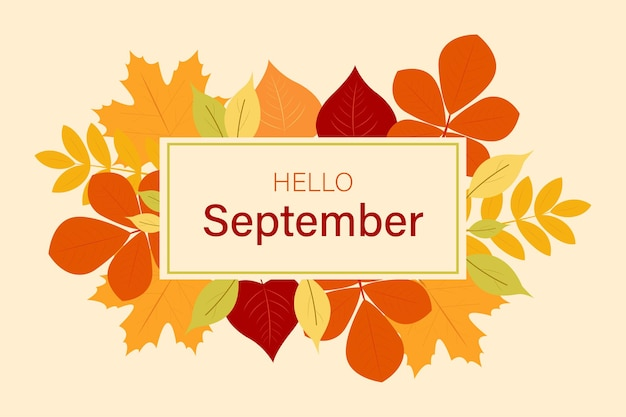 Hello september banner autumn background with leaves vector graphics