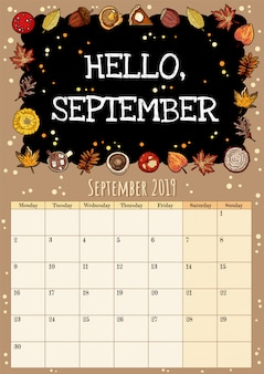 Hello september chalkboard inscription cute cozy hygge 2019 month calendar planner with autumn decor
