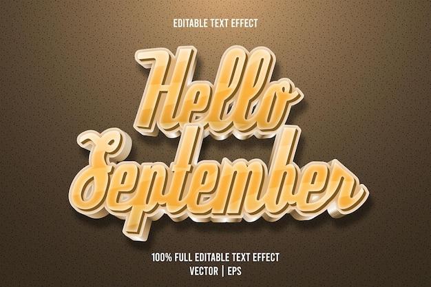 こんにちは9月編集可能なテキスト効果3次元エンボス高級スタイル