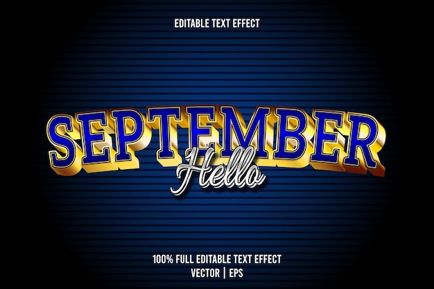 Hello september editable text effect 3 dimension emboss luxury style