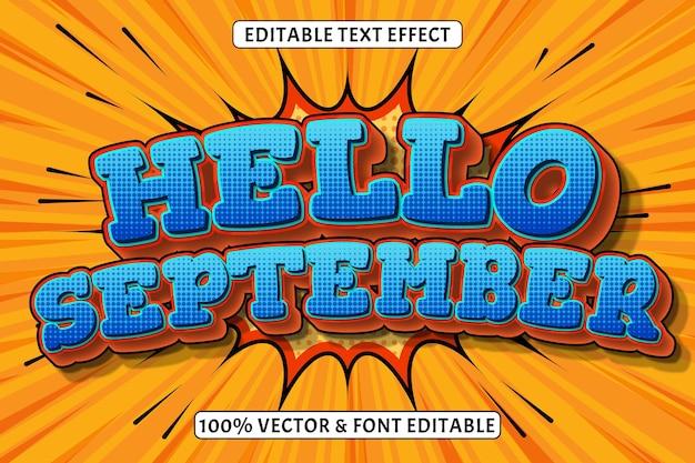こんにちは9月編集可能なテキスト効果3次元エンボスコミックスタイル