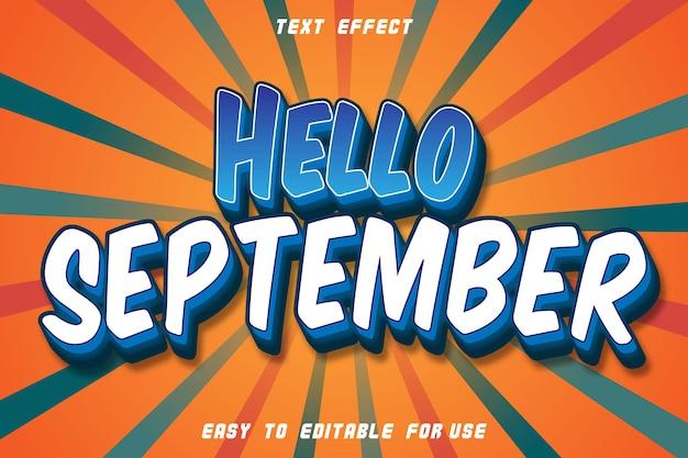 こんにちは9月編集可能なテキスト効果エンボスモダンスタイル
