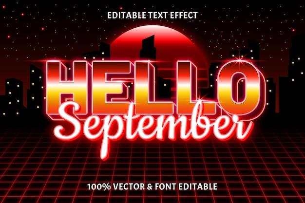 こんにちは9月編集可能なテキスト効果レトロスタイル