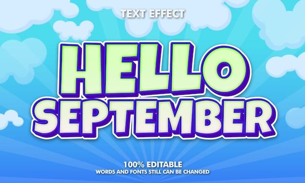 こんにちは9月の編集可能なテキスト効果