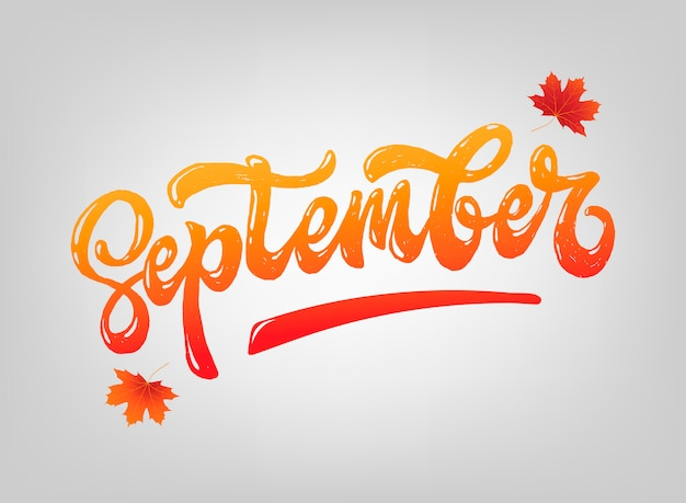 Hello september lettering quote