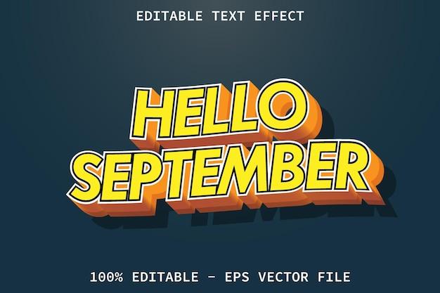 こんにちは9月モダンスタイルの編集可能なテキスト効果