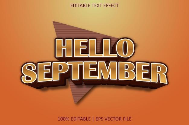 こんにちは9月モダンなスタイルの編集可能なテキスト効果