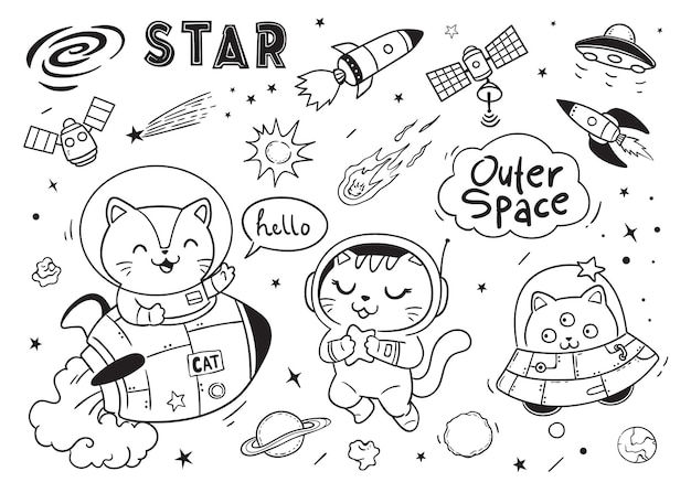 Hello space cats doodle for kids
