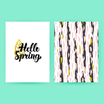Hello spring 80s style poster. vector illustration of trendy pattern design with handwritten lettering.